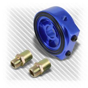 JDM-Aluminum-Racing-Sport-Oil-Gauge-Filter-Blue-M22-Sandwich-Plate-Cooler-Kit