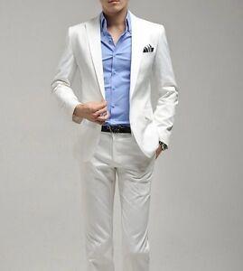 White-Men-Wedding-Groom-Suit-Side-Vents-One-Button-Slim-Fit-Suit-Jacket-Pants