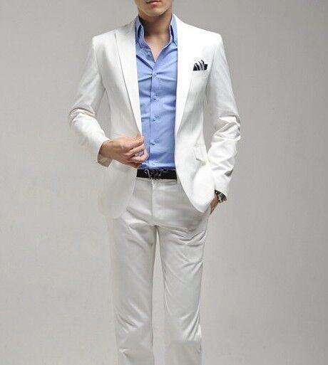 White Men Wedding Groom Suit Side Vents One Button Slim Fit Suit Jacket Pants
