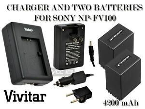 2-Battery-Charger-FOR-SONY-NP-FV100-4200-mAh-NEX-VG10-HDR-XR550V