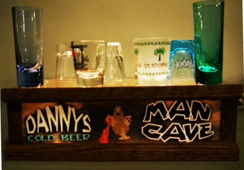 Lighted MAN CAVE shot glass / liquor bottle BAR display * PERSONALIZED *