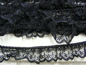 Gathered Black Lace with Pearls x 10 metres