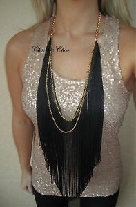 Long-Black-Tassel-Fringe-Gold-Layered-Chain-Necklace-Boho-Grecian-Choochie-Choo