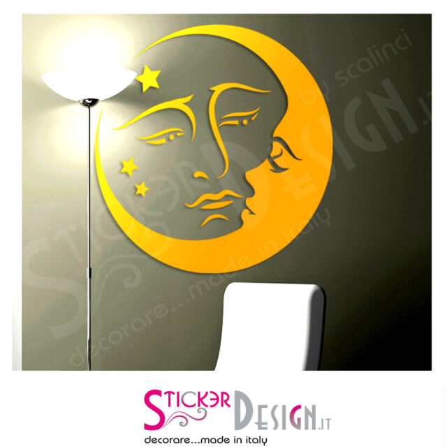 Wall Stickers Adesivo Murale Luna e Sole Design Moderno StickerDesign