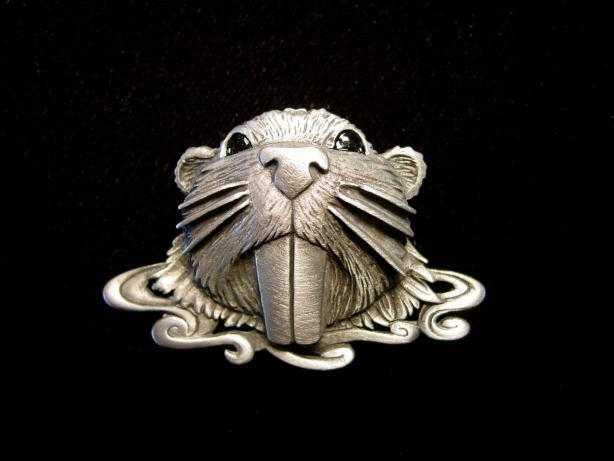 """JJ"" Jonette Jewelry Silver Pewter 'Big Tooth Beaver' Pin"