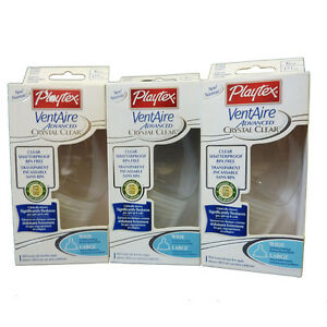 3-Playtex-Crystal-Clear-VentAire-Advanced-6oz-Baby-Wide-Bottles-Nipples-BPA-FREE