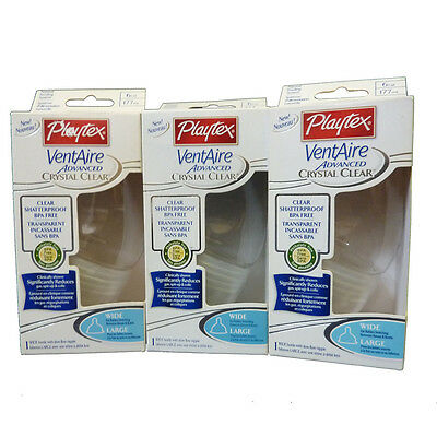 3 Playtex Crystal Clear VentAire Advanced 6oz Baby Wide Bottles Nipples BPA FREE