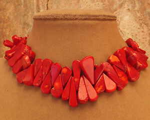 ! RED ! BIG FRINGE CORAL NECKLACE TEARDROP GEM JEWELRY USA MADE GOLD OR SILVER
