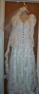 Vintage-Plus-Size-22-Southern-Bell-Jessica-McClintock-Boho-Wedding-Dress-w-Veil