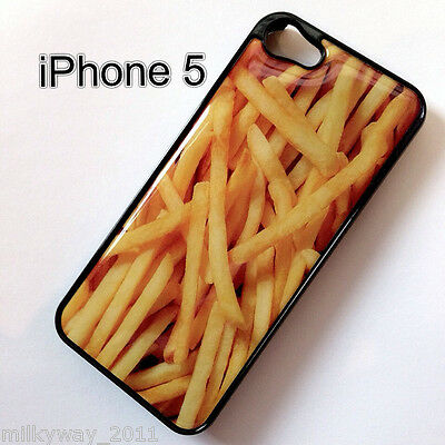 Black IPHONE 5 Snap On Plastic Case FRENCH FRIES bacon burger food potato cover