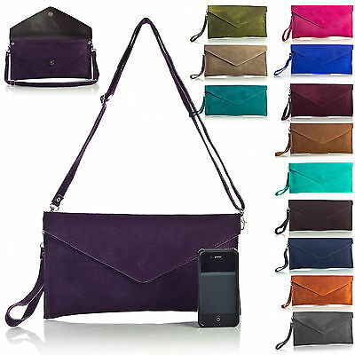 New Real Italian Suede Leather Envelope Clutch Party Wedding Womens Bag Purse