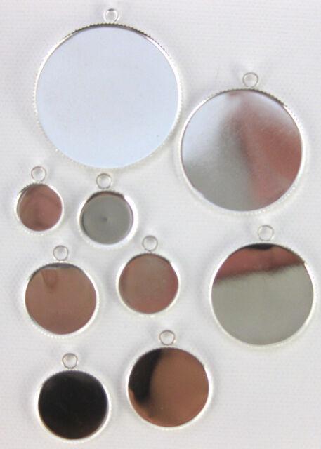 10 Silver Brass Cabochon Settings / Trays - Choose Size & Shape - Tile Pendants