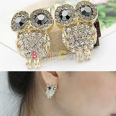 Women's Girls  Dazzling  Crystal Gold Lovely Owl White Earrings SAUS
