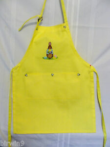 New Child's Yellow Apron w/Easter Bunny Embroidery