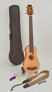 NEW-TRAVEL-GUITAR-ACOUSTIC-STEEL-STRING-DURABLE-SHOP-ADJUSTED-WITH-STRAP-CASE