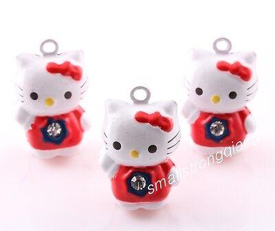 10 pcs Lucky Cat Jingle Bells Beads Charms Pet Pendants Christmas Ornaments