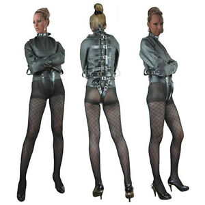 Black-Faux-Leather-Straight-Jacket-Fetish-Escapology-Free-U-K-Delivery