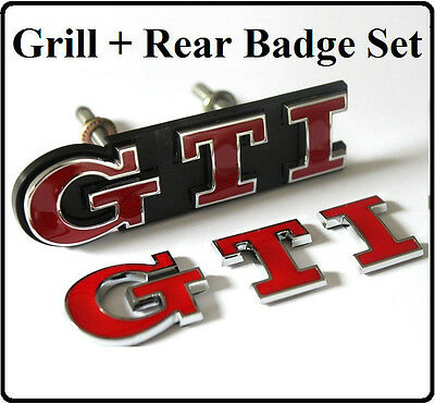GTI Grill + Rear Badge Set Emblem Red Golf Polo Passat MK4 MK5 MK6 Car  VW (29s)