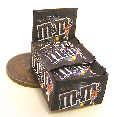 A Display Box Of Chocolate M&Ms Packets Dolls House Miniature Accessory Sweets