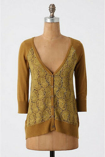 NWT Anthropologie Filigree golden Lace Cardigan Sweater Size S