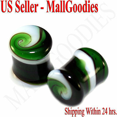 V098 Double Flare Green White Swirl Glass Saddle Plugs Spiral HAND MADE Earlets