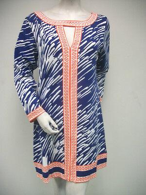 Tracy Negoshian Paige Dress Blue White Orange Jersey Knit 3/4 Sleeve NEW NWT