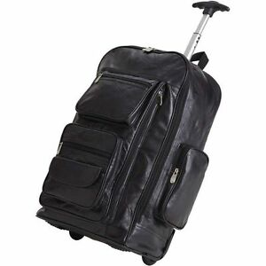"Leather 24"" Rolling Carry-On Luggage Bag , Mens School Laptop ..."