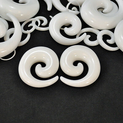 Pair White Acrylic Swirl Expanders Spiral Tapers Ear Plugs Talons Organic Tribal