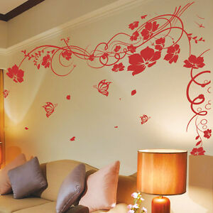 Image Is Loading Large Flower Butterfly Tree Wall Art Stickers Wall  Part 68