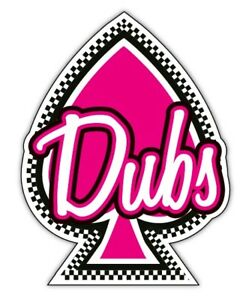 DUBS car sticker shocking pink ace of dubs checkered vw 110x77mm