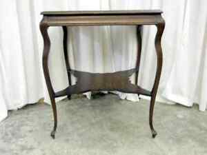 Beautiful-Antique-1-4-Cut-Dark-Oak-Square-Lamp-Side-Table-w-Butterfly-Stretcher
