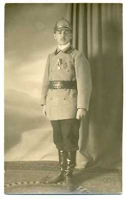 Russian Imperial Fireman with Helmet Badge Medal Photo