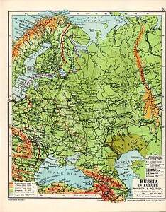 MAP ~ RUSSIA IN EUROPE ~ PHYSICAL AND POLITICAL ~ SANDHURST ATLAS ...
