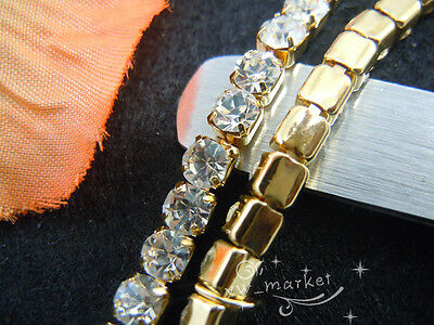 888 clear crystal rhinestone close chain trims golden 5.8 meter