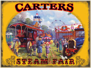 Showmans-Steam-Traction-Engine-Fodens-Truck-Fair-ground-Small-Metal-Tin-Sign
