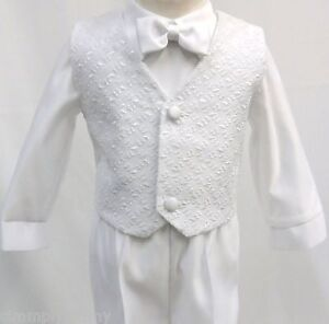 Infant-Toddler-Boy-Christening-Baptism-White-Suit-Outfit-size-S-M-L-XL-2T-3T-4T