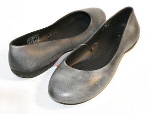 Crocs-Wiona-Flat-Antique-Oyster-Black-Women-039-s-5-6-7-8-9-10-11