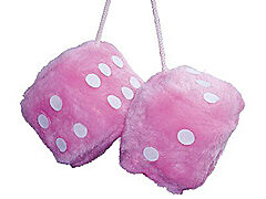 Pink furry lucky HANGING dice car or van girl gift LARGE FLUFFY FUZZY free P&P