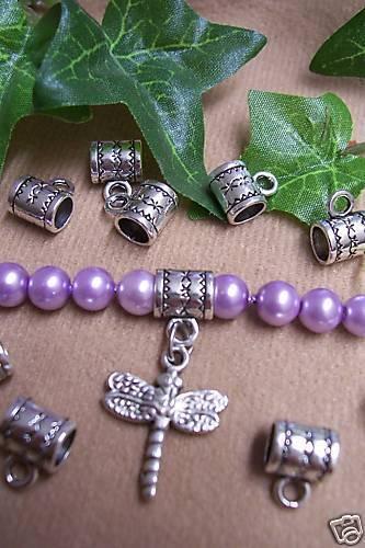 8 Spacer zum befestigen von Anhängern, silbern, Perle, Verbinder, Perlen basteln