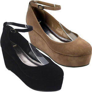 LADIES-WOMENS-BLACK-NUDE-FLATFORM-ANKLE-STRAP-COURT-SHOES-SIZES-3-8
