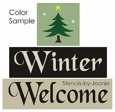 STENCIL Winter Welcome Rustic Christmas Pine Tree Primitive Craft Sign Blocks