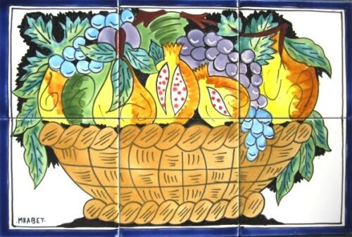 DECORATIVE CERAMIC TILES: MOSAIC PANEL HAND PAINTED WALL MURAL FRUIT 18in x 12in