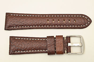 20mm Genuine Leather BROWN  Watch Band padded strap silver tone buckle