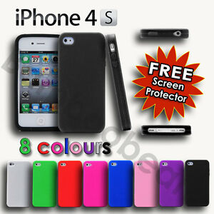 NEW-SOFT-SILICONE-RUBBER-CASE-COVER-FOR-IPHONE-4-4S-FREE-SCREEN-PROTECTOR