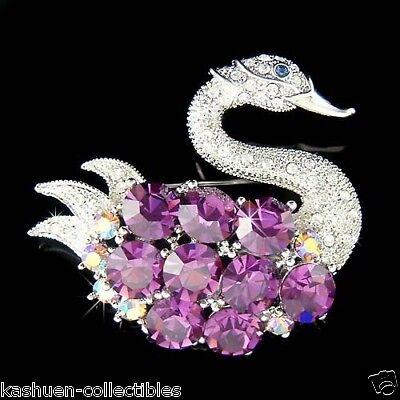 BIG w Swarovski Crystal Rhinestone Purple SWAN Princess Bird Pin Brooch Xmas New