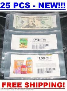 3-POCKETS-Coupon-Sleeves-Pages-Currency-size-25-set-NEW-Bill-Money-Holders