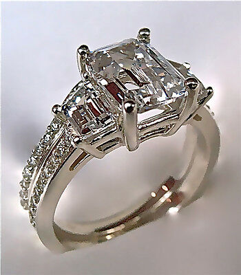 2.94Ct Emerald Cut Engagement Ring & Matching Wedding Band 14K Solid Gold