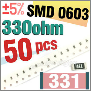 50-x-SMD-SMT-0603-Chip-Resistors-Surface-Mount-330R-330ohm-331-5-1-10W-RoHs