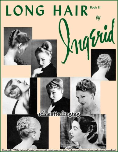Vintage Hair Accessories: Combs, Headbands, Flowers, Scarf    1950s ATOMIC Hairstyle Book Create 50s Long Hairstyles Ingerid Wedding Prom Updo $17.99 AT vintagedancer.com