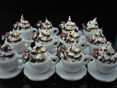 Set of 12 Cups of Cappuccino with Cane Chocolate Heart Dollhouse Miniatures Food